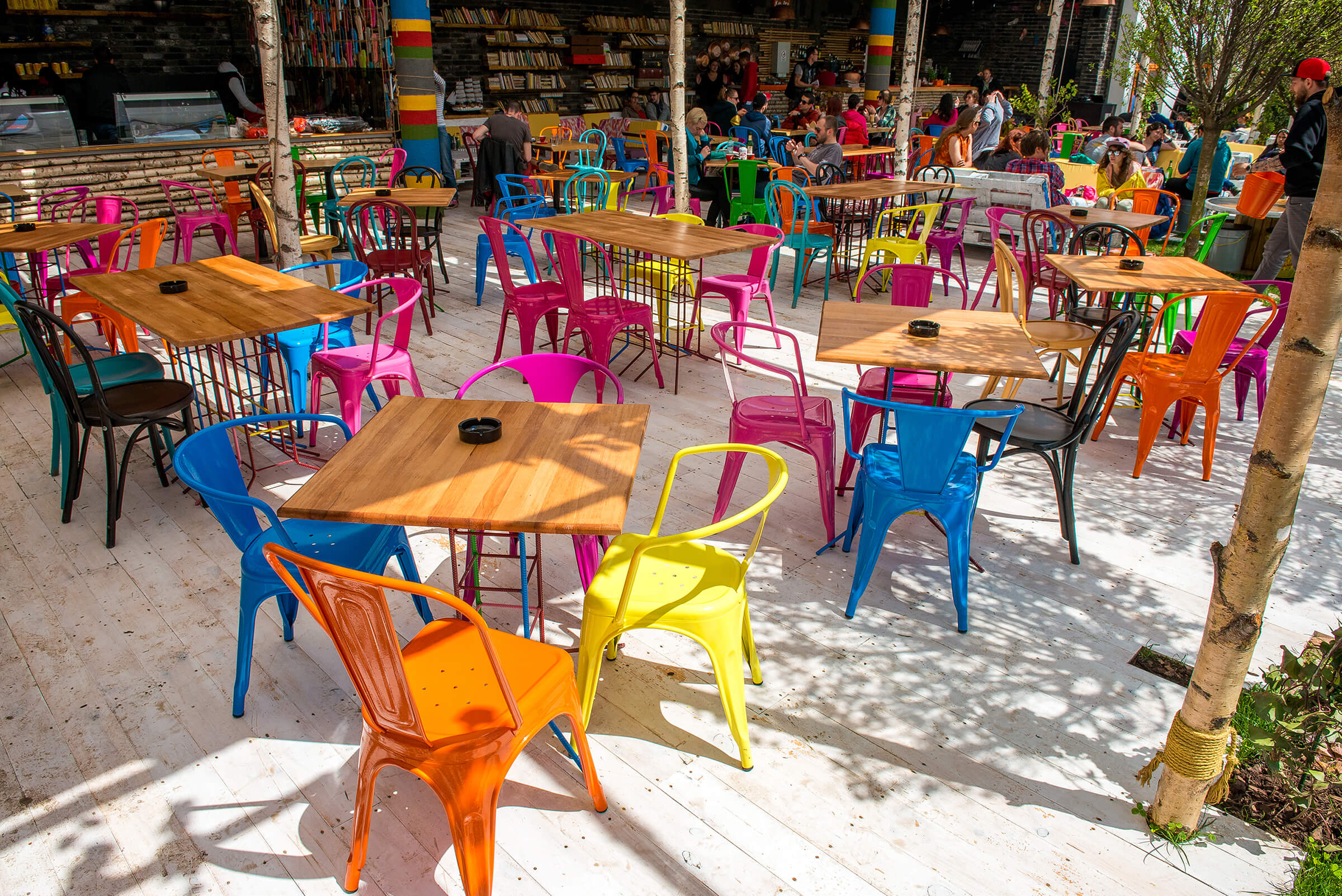 Coloured chairs on Sandalandala terrace